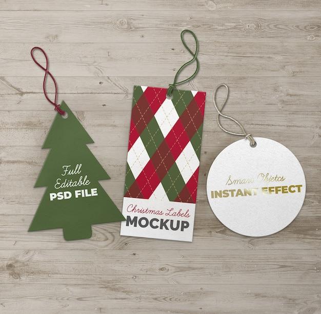 Maqueta de etiquetas de círculo y rectángulo de árbol de navidad