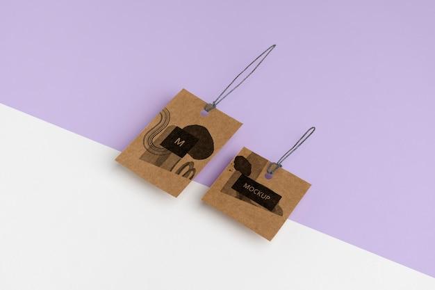 Maqueta de etiquetas de suspensión artesanal isométrica