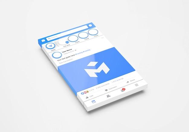 Maqueta de facebook de redes sociales de interfaz 3d