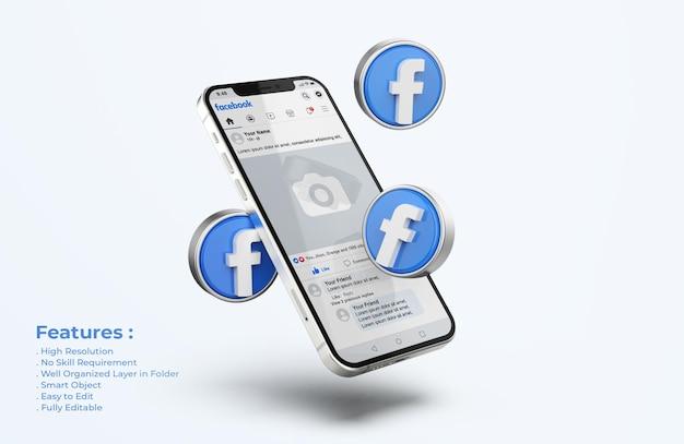 Maqueta de facebook en teléfono móvil con iconos 3d
