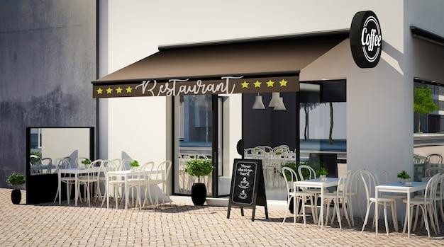 Maqueta de fachada de café con elementos de marca
