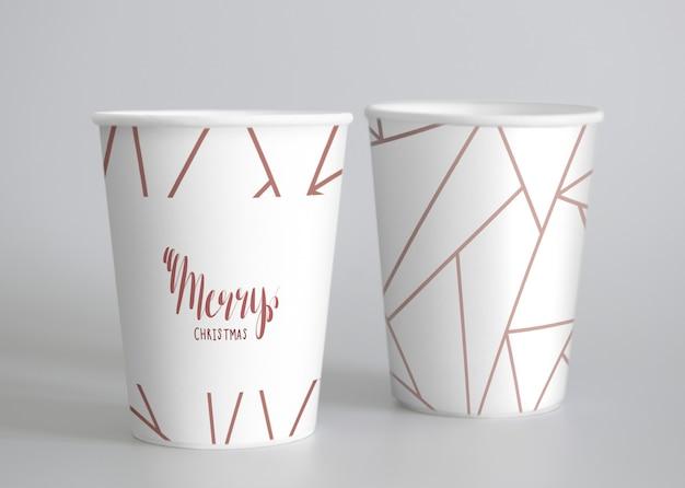 Maqueta festiva de la taza de papel
