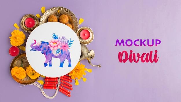 Maqueta de festival de diwali feliz minimalista plano laico