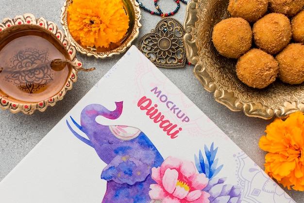 Maqueta del festival hindú de diwali elefante y comida