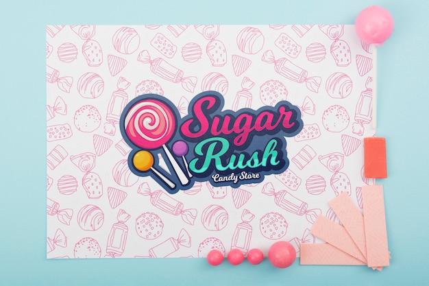 Maqueta de fiebre del azúcar y marco rosa
