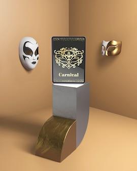 Maqueta de fiesta de carnaval con máscaras venecianas