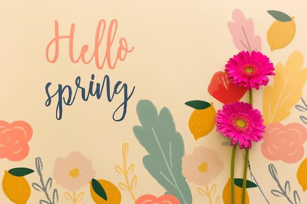 Maqueta flat lay de primavera con copyspace