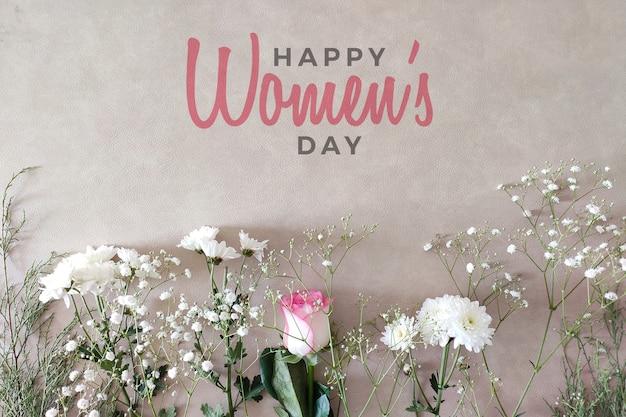 Maqueta floral editable del día feliz de la mujer