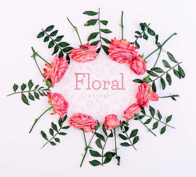 Maqueta floral marco rosas rosas