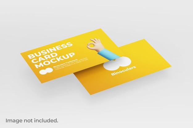 Maqueta flotante de dos tarjetas de visita modernas y limpias