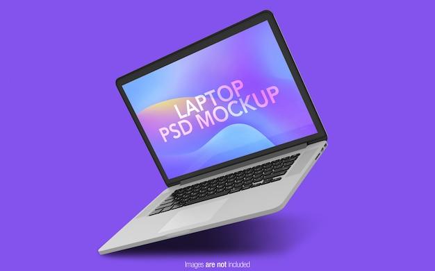Maqueta flotante del macbook pro psd