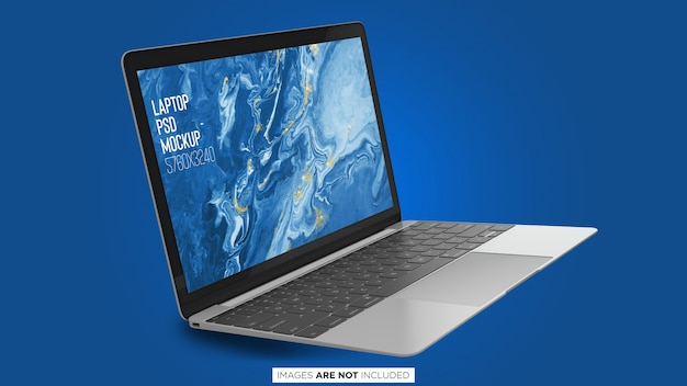 Maqueta flotante de macbook pro psd