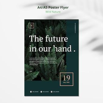 Maqueta de flyer de cartel de concepto de naturaleza salvaje