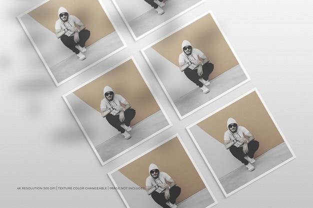Maqueta de flyer cuadrado y marco de fotos