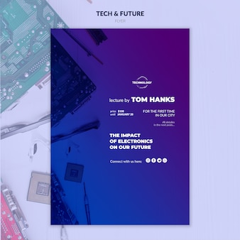 Maqueta de flyer de tecnología y concepto futuro