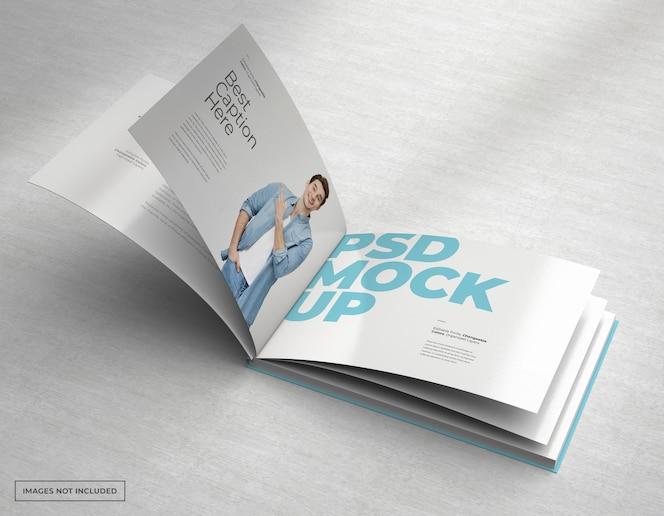 Maqueta de folleto ancho con páginas internas