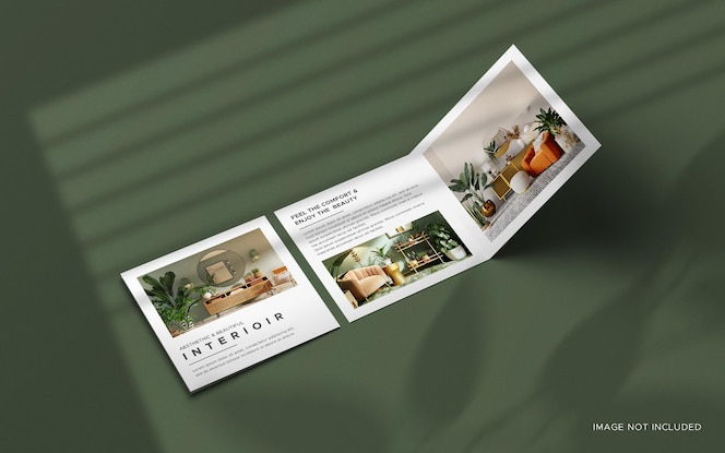 Maqueta de folleto de catálogo cuadrado plegable con superposición de sombras