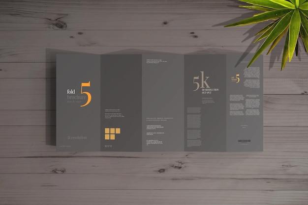 Maqueta de folleto de cinco pliegues tamaño dl