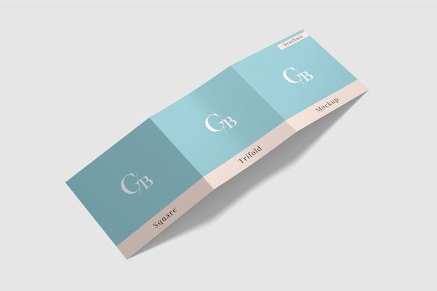 Maqueta de folleto cuadrado triple