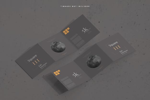 Maqueta de folleto cuadrado tríptico