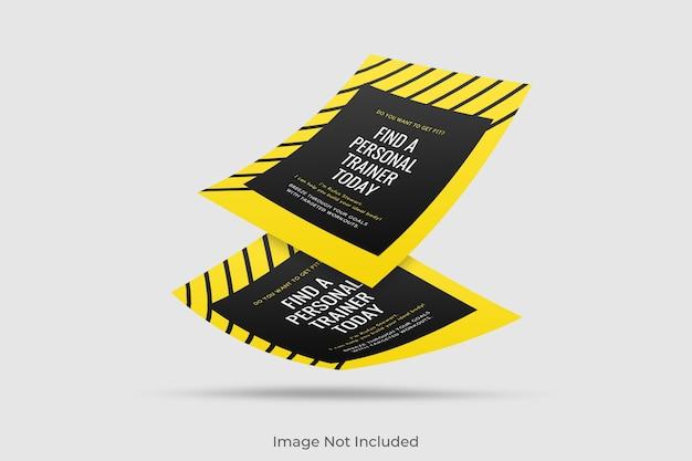 Maqueta de folleto flotante a4