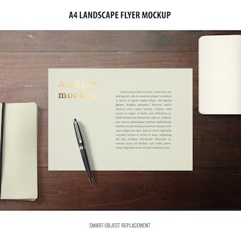 Maqueta de folleto de paisaje a4