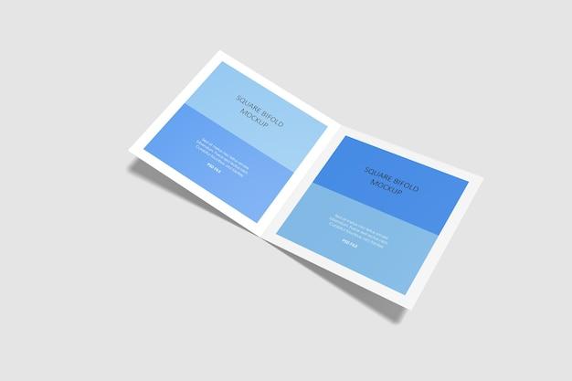 Maqueta de folleto plegable cuadrado aislado