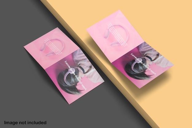 Maqueta de folleto plegable cuadrado doble moderno
