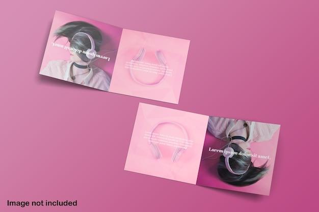 Maqueta de folleto plegable cuadrado doble vista superior