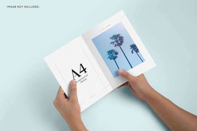 Maqueta de folleto plegable de mano