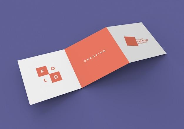 Maqueta de folleto de plegado cuadrado z