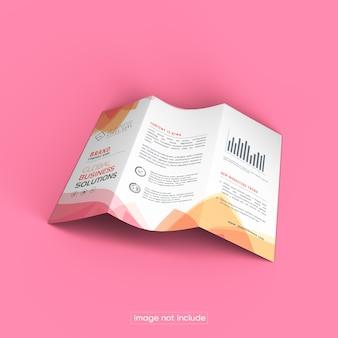 Maqueta de folleto tríptico aislado