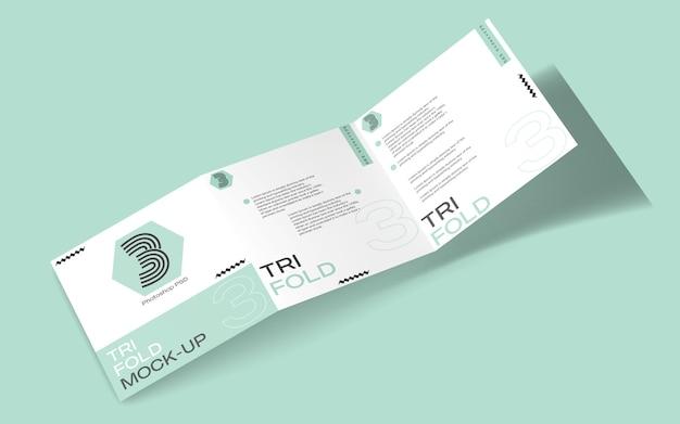 Maqueta de folleto tríptico cuadrado