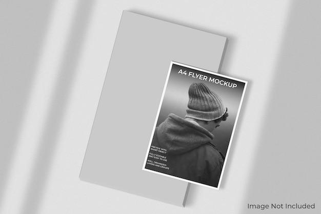 Maqueta de folleto de volante a4 con superposición de sombras
