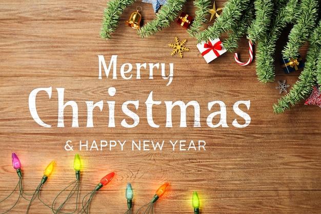 Maqueta de fondo de feliz navidad con decoración