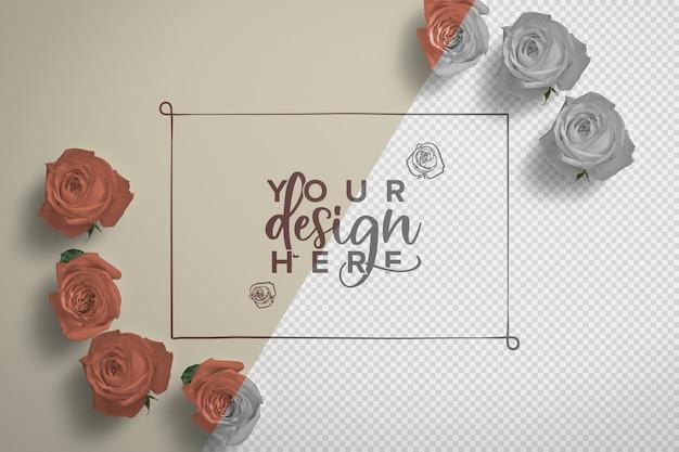 Maqueta de fondo de marco de rosas