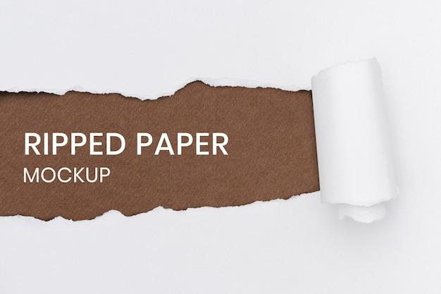 Maqueta de fondo de papel rasgado psd en artesanía blanca hecha a mano