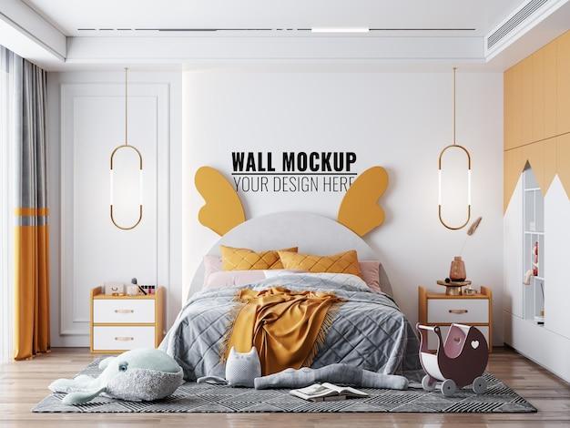 Maqueta de fondo de papel tapiz de habitación de niños interior
