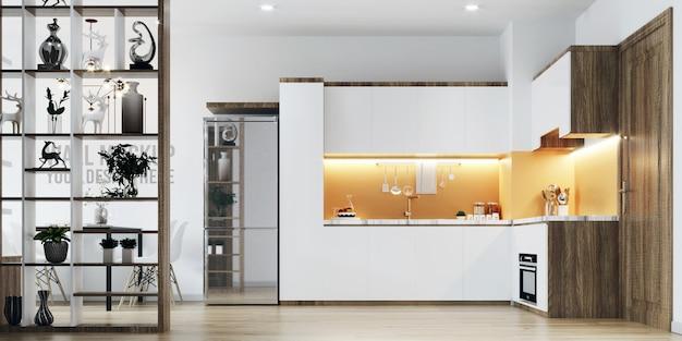 Maqueta de fondo de pared de cocina interior