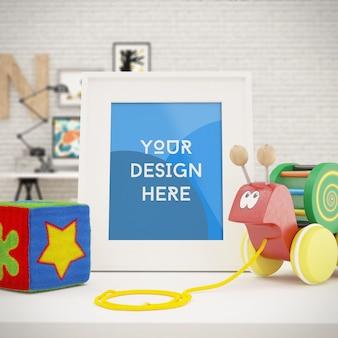 Maqueta de foto enmarcada vertical con juguetes en la habitación de los niños