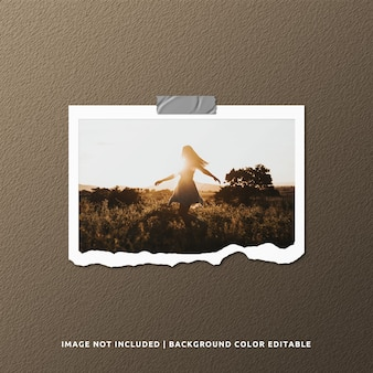 Maqueta de foto de marco de papel rasgado de paisaje