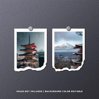 Maqueta de foto de marco de papel rasgado de retrato gemelo