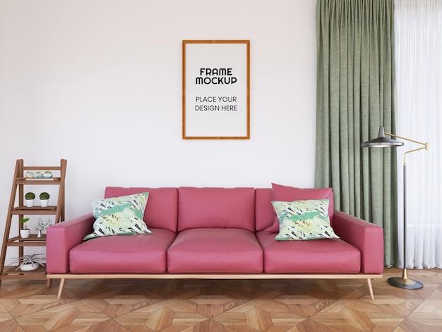 Maqueta de foto de marco de sala de estar interior