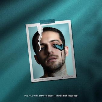 Maqueta de foto polaroid rasgada con superposición de sombras