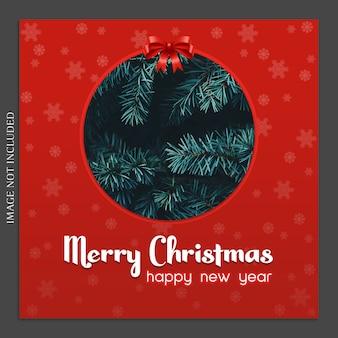 Maqueta fotográfica de navidad y feliz año nuevo e instagram post template para social medi