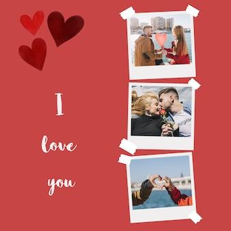 Maqueta de fotos instantáneos de san valentin