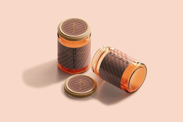 Maqueta de frascos de vidrio de mermelada