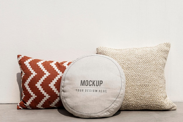 Maqueta de funda de cojín de almohada diseño interior psd