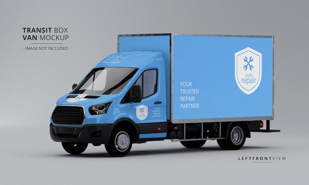 Maqueta de furgoneta de caja de tránsito desde la vista frontal izquierda