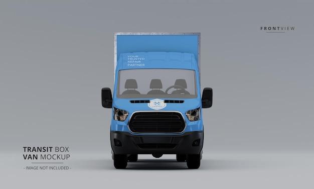 Maqueta de furgoneta de caja de tránsito desde la vista frontal
